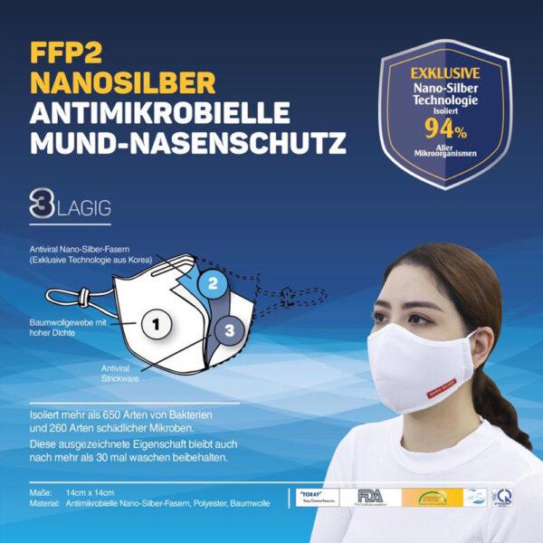 Mascarilla Reutilizable Adulto Nanosilber Pack 2